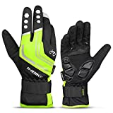 INBIKE Cycling Winter Gloves,for Men Windproof Reflective Thermal Gel Pads Touch Screen MTB Mountain Bike Green X-Large