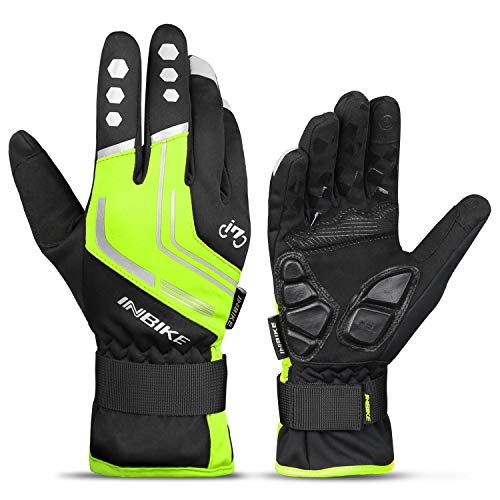 INBIKE Cycling Winter Gloves,for Men Windproof Reflective Thermal Gel Pads Touch Screen MTB Mountain Bike Green Large
