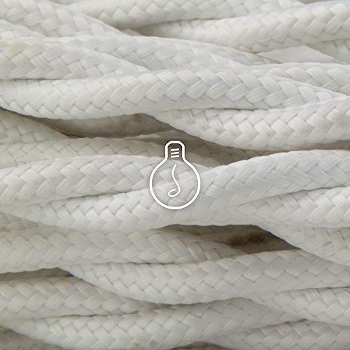 Amarcords - Cable de tela color BLANCO, trenzado, seda, 5 metros, con tierra 3x0,75 - Hilo eléctrico textil de color estilo clásico para lámparas bricolaje y iluminación vintage.