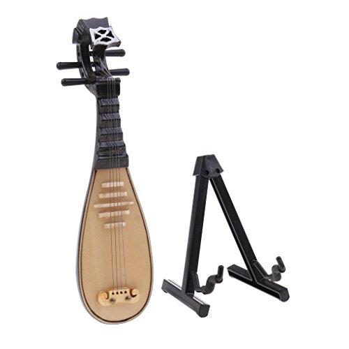 SM SunniMix Pipa Decoración de Instrumentos Musicales de Madera para Casas de Muñecas 1:12