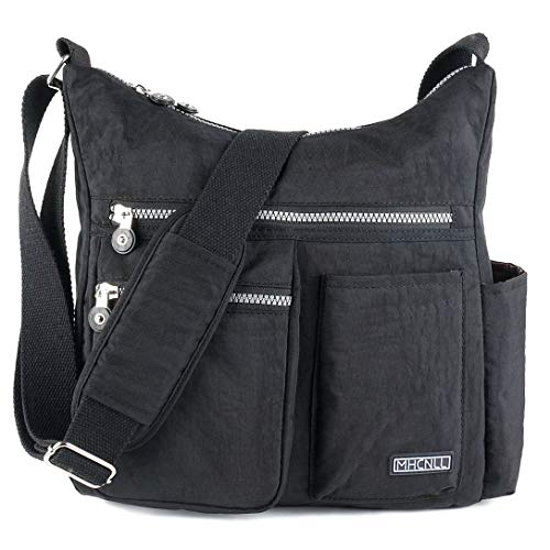 Crossbody Bag with Anti Theft RFID Pocket - Women Lightweight Water-Resistant Purse (black)