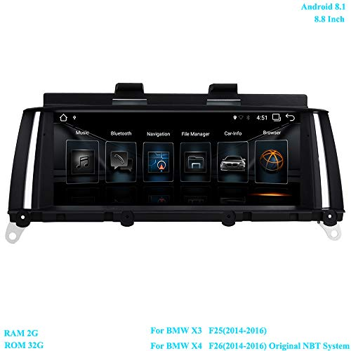 XISEDO 8.8 Pouces Écran 6-Core Android 8.1 Autoradio RAM 2GB ROM 32GB Car Radio Système de Navigation GPS pour BMW X3 F25(2013-2016)/ BMW X4 F26(2013-2016) Système NBT Original