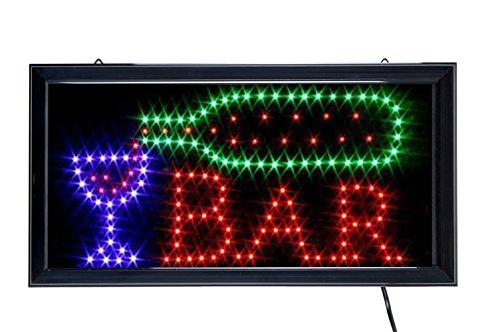 LED Schild Leuchtreklame, Motiv: BAR, Maße: 43,5 x 23,5 cm
