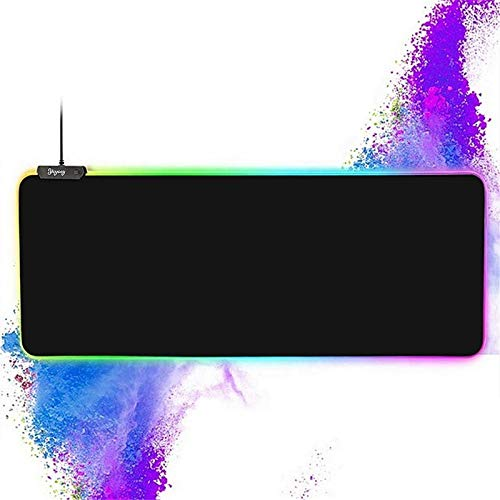 RGB Gaming Large Mouse pad,YCYCSY Professional LED Extended Black Mouse Pad,Extra Long Computer Keyboard Mouse Pads, Anti-Slip Rubber Base,Waterproof Keyboard Mouse Mat with 14 Lighting Modes