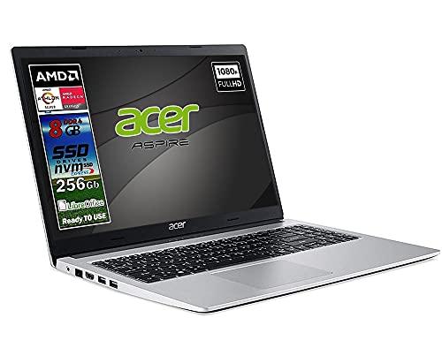 Acer Silver new Athlon 3050u, ram 8 Gb Ddr4, SSD M.2 PCi da 256Gb, Display Full Hd da 15,6 pollici, web cam, usb, hdmi, bt, Win10 Pro, Libre Office, Pronto all uso layout e Garanzia Italia