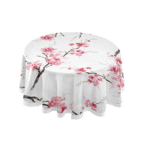CPYang Mantel Redondo japonés poliéster Flores Sakura