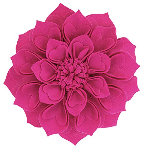 Fennco Styles Handmade 3D Heart-Shaped Petals Flower Decorative Throw Pillow Cover 13 Inch Round - Fuchsia Floral Pillow Case for Couch, Home Décor, Bedroom Décor and Holiday, Housewarming Gift