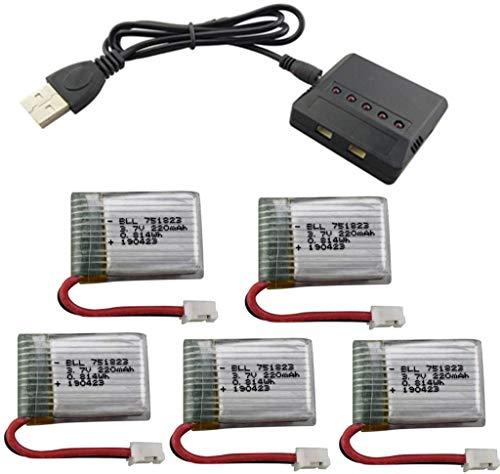 Fytoo 5PCS 3.7V 220mah Lipo Batería y 5 en 1 Cargador para E010 GoolRC T36 NINHUI NH010 F36 JJRC H36 HS210 SANROCK GD65A ATOYX AT-66 RC Quadcopter Repuestos