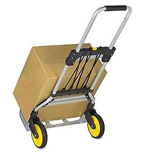 Mount-It! Plegable Carretilla Mano, 120 kg Capacidad, Pesada Carga Transporte Equipaje Carro con Mango Telescópico y Ruedas Goma