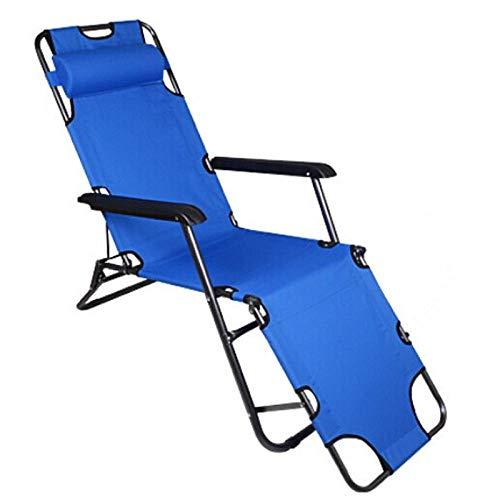 T-ZBDZ Klappbarer Liegestuhl Strand Sonnenstuhl Tragbarer Garten Sonnenbaden Outdoor Camping Hocker Verstellbar Schwerelosigkeit Ruhebett Blau 153 cm