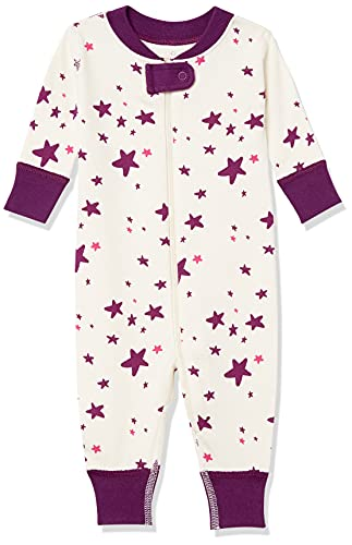 Moon and Back by Hanna Andersson One Piece Footless Pajamas Sleepers, Darker Pink, 3 Years