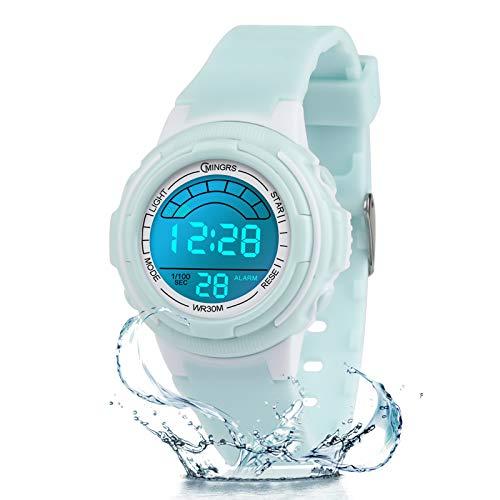 Reloj Digital para niños, niñas, Reloj de Pulsera Resistente al Agua con 12/24 H, Reloj Despertador, luz de Fondo de 7 Colores, Regalos de cumpleaños para niños y niñas (Verde-8569B)