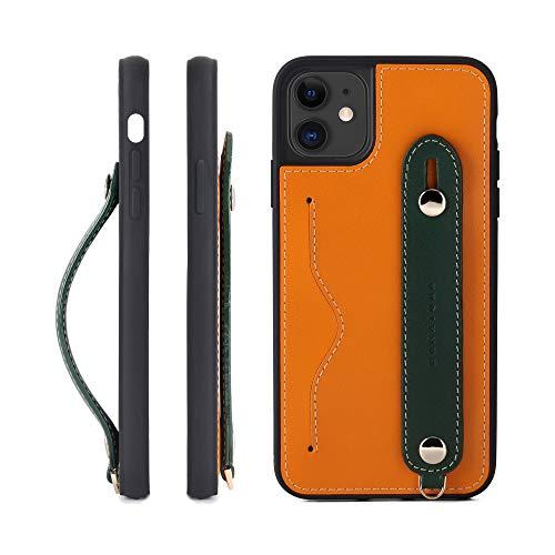 IPhone 11ProMax グリップケース レザー 本革 ストラップ付属 イタリア製牛革 ヌメ革 片手操作 カード収納 スタンド機能 メンズ レディース オレンジ/グリーン