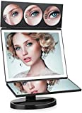 FASCINATE Large Lighted Makeup Vanity Mirror (X-Large Model), Trifold Vanity Mirror with Lights 10X/5X/3X Magnification, Touch Screen, 360° Free Rotation, Double Power Supply Light Up Mirror(Black)