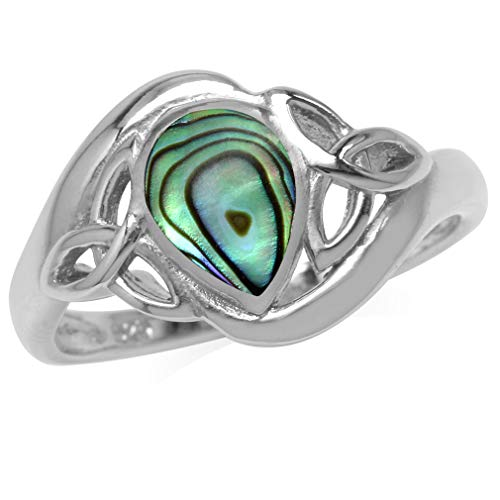 Silvershake Pear Shape Abalone Paua Shell Inlay White Gold Plated 925 Sterling Silver Triquetra Celtic Knot Ring Size 7
