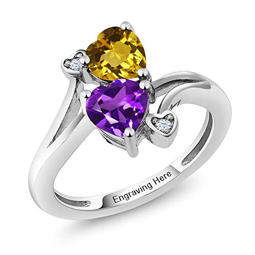Gem Stone King 925 Sterling Silver Promise Customized Personalized and Engraving Build Your Own 2 Birthstone For Her Heart Shape Women Engagement Ring (Size 8)