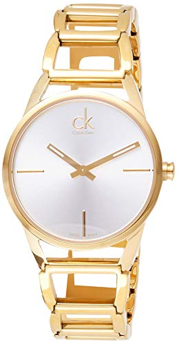 Calvin Klein Damen-Armbanduhr XS ck Stately Analog Quarz Edelstahl beschichtet K3G23526
