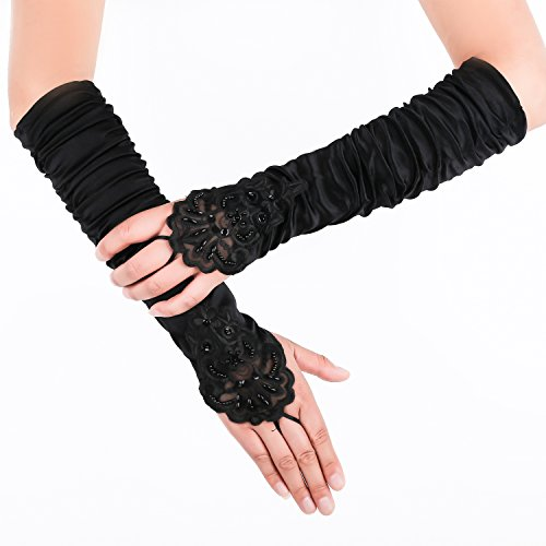 JISEN Gathered and Beaded Fold Floral Embroidery Lace & Sequins Satin Gloves 15 (Black)