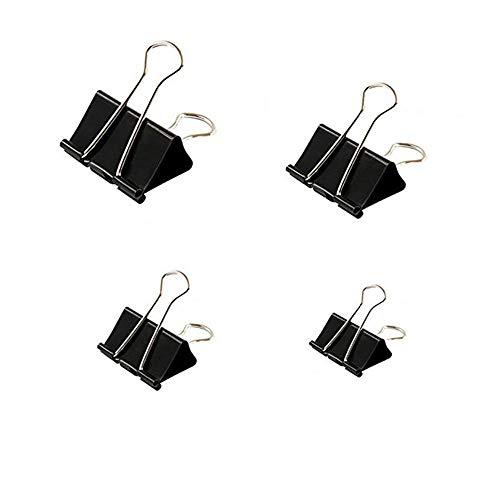 Pinzas Papeleria, Clips Oficina, Clips de 15 mm 19 mm 25 mm 32 mm, 100 Clips Pequeños De Metal, supaclip De Papelería, Mini Clips Foldback Para Asegurar Archivos(Negro)