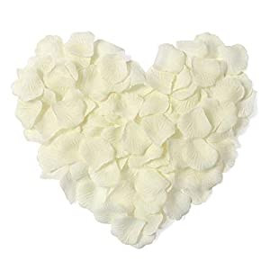 Young 1000 Pieces Artificial Flower Rose Petals for Wedding Confetti Girl Bridal Shower Hotel Home Party Valentine Day Flower Decoration, Ivory