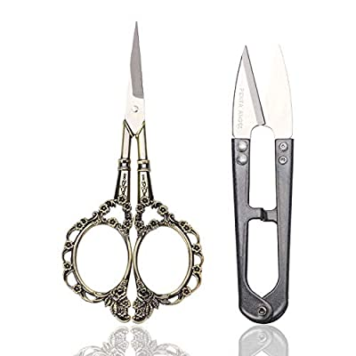 PENTA ANGEL 2 Pairs Sewing Scissors, Stainless Steel Vintage Plum Blossom Needlework Embroidery Scissors, U Small Yarn Thread Cutter Snips Trimming Nipper Tailor Scissors for Cross-Stitch DIY Craft