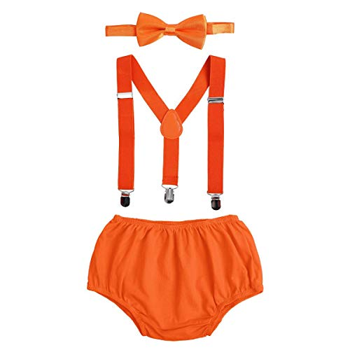 Baby Boys First Birthday Cake Smash Outfit Bloomers Bow Tie Suspenders Set Fishing Party Nappy Diaper Cover 3pcs Clothes Set Photography Prop Costume For Newborn Infant Toddler Orange