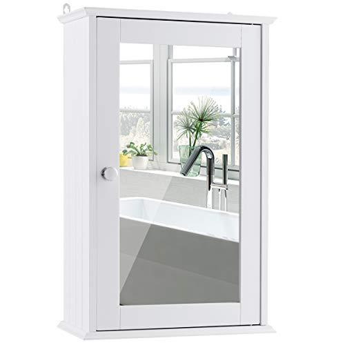COSTWAY Spiegelschrank Badezimmer, Badschrank mit Spiegel, Badezimmerschrank weiß, Badezimmerspiegel mit Ablage, Hängeschrank Badmöbel, Badezimmerspiegelschrank 53x34x15cm