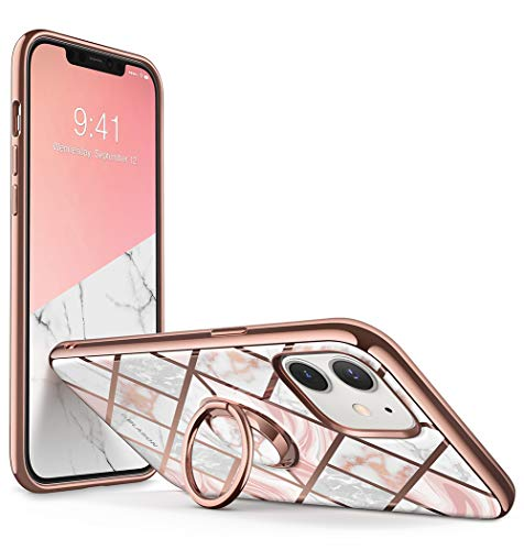 i-Blason Cosmo Snap Case Designed for iPhone 12/iPhone 12 Pro 6.1 Inch (2020 Release), Slim with Built-in 360° Rotatable Ring Holder Kickstand Supports Car Mount (Marble)