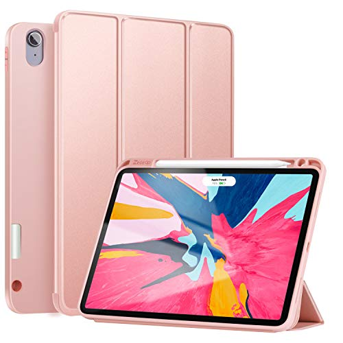 Ztotop Case for iPad Pro 11 Inch 1st Generation 2018 with Pencil Holder- Lightweight Soft TPU Back Cover and Trifold Stand with Auto Sleep/Wake,Support 2nd Gen iPad Pencil Charging,Rosegold