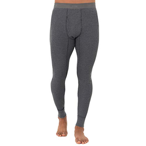 Fruit of the Loom Men's Recycled Premium Waffle Thermal Underwear Bottom (1, 2, 3, and 4 Packs), Greystone Heather, Large