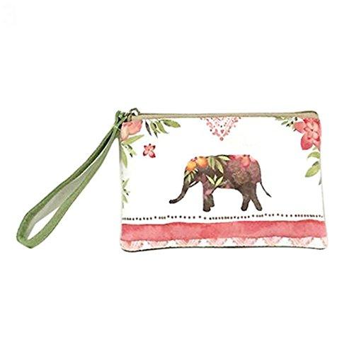 Pengyu Women Fashion Mini Cute Elephant Elk Whale Cat Printed Handbag Coin Purse Wallet (3)