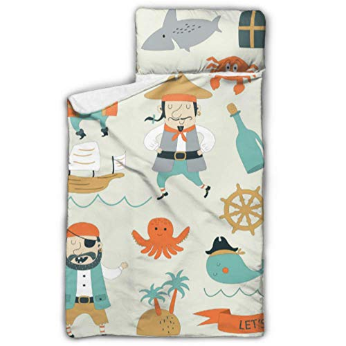 WYYWCY Netter Pirat und Hai im Meer Kinder Mädchen Schlafsack Reisen Schlafsack mit Decke und Kissen Rollup Design ideal für Vorschulkindergarten Sleepovers 50