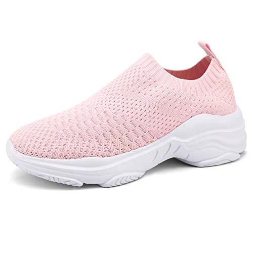 Zapatillas Deportivas Mujer Zapatos Deporte Gimnasia Correr Gimnasio Ligero Zapatos para Caminar Zapatillas de Running Fitness Sneakers Transpirable Rosa-A 38 EU