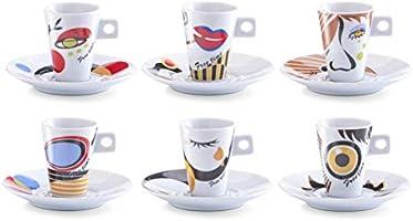 Zeller 26505 Servicio de Café Expreso, Porcelana, Multicolor, 30x15x8 cm, 6