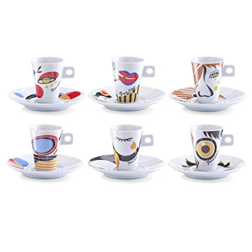 Zeller 26505 Set Tazzine da caffè Faces, Porcellana, Multicolore, 0.1x5x6.7 cm, 12 unità