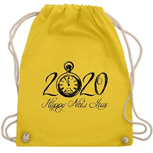 Weihnachten & Silvester - Happy New Year 2020 Uhr Vintage - Unisize - Gelb - WM110_Stoffbeutel - WM110 - Turnbeutel und Stoffbeutel aus Baumwolle