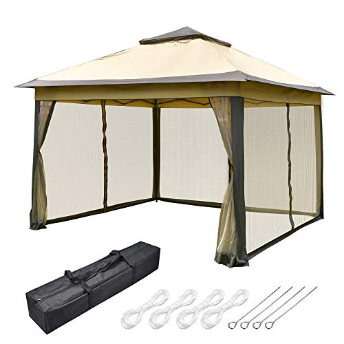 Yescom All-in-1 11x11ft Pop-Up Gazebo Tent with Mesh Sidewall Carry Bag Sunshading Shelter for Outdoor Yard Garden Patio