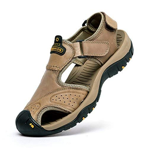 SONLLEIVOO Mens Sports Leather Sandals Outdoor Beach Water Sandal Fisherman Athletics Shoes