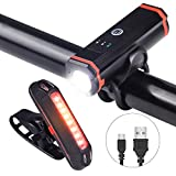 EJEAS Bike Light Set, USB Rechargeable LED Bicycle Headlight IP65 2200MAH Front Light and IP43 500MAH Tail...