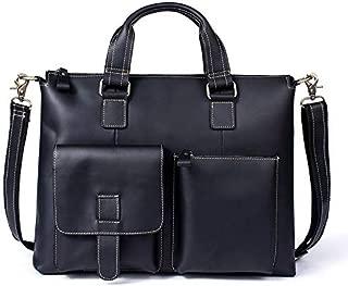 YXHM AU Men's Business Retro Genuine Leather Cross Handbags Single-Shoulder Messenger Bag (Color : Black)