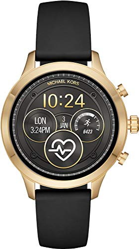 Michael Kors Women's Access Gen 4 Runway Plated Touchscreen Watch with Stainless Steel Silicone Strap, Black, 18 (Model: MKT5053)