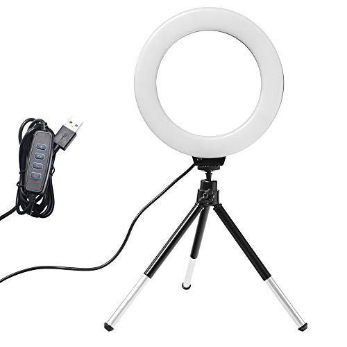 YNLRY LED Desktop Video Ring Light Selfie Lamp with Tripod Stand USB Plug for YouTube Live Photo Photography Studio (Color : Black tripod)