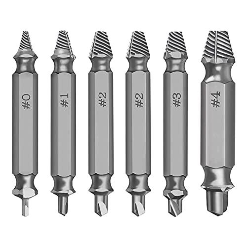 Skadad skruv extraktorsats dubbel huvudborttagare verktygssats för trasig rostig hårdvara, 6 st