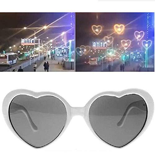 Mzeyuan Rainbow Hearts - Gafas de difracción con efecto especial para fiestas de música al aire libre, bares, fuegos artificiales, luces navideñas, discotecas, luces de conciertos