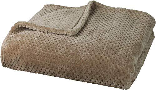 Delindo Lifestyle® Kuscheldecke Milano beige Cappuccino, Mikrofaser Fleece-Decke, 220x240 cm XXL, Bettüberwurf, flauschig weiche Wohndecke Tagesdecke für entspannte Abende