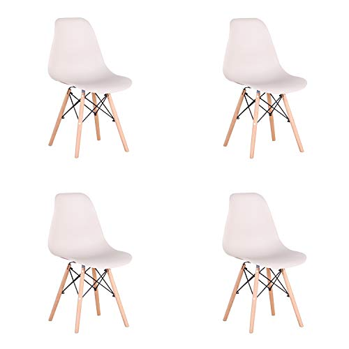 Pack 4 sillas de Comedor Silla diseño nórdico Retro Estilo (Caqui-4)