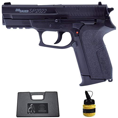 Pistola SP2022 (6MM) |Arma Corta de Airsoft (Bolas de plástico) Tipo Sig Sauer + maletín PVC + biberón