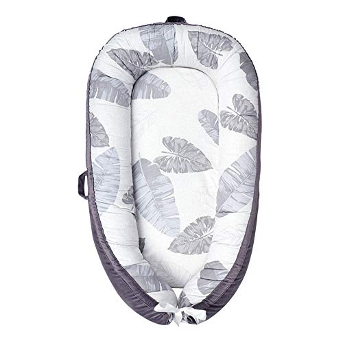 Windream Portable Crib with Summer Mat for Bedroom/Travel Gray Leaves-Newborn Baby Bassinet for Lounger/Nest/Sleep Pod/Cot Bed Breathable & Hypoallergenic Co-Sleeping Baby(0-24 Months)