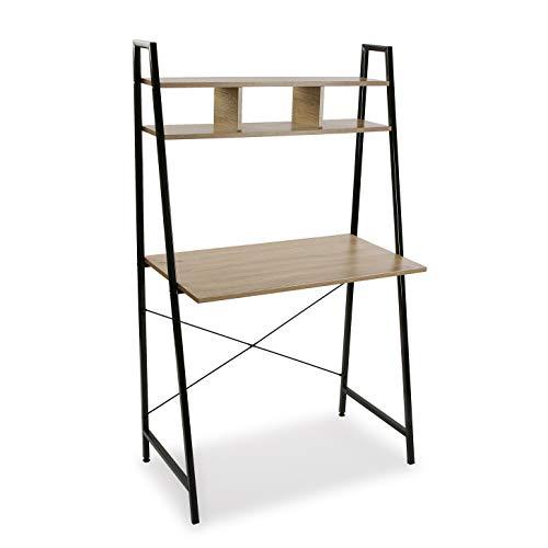 Mimma 21710060 Mesa de Escritorio para Ordenador Despacho Nina con Estantería, Metal, Marrón y Negro, 142 x 46 x 84 cm