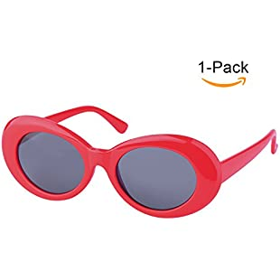 Elimoons Clout Goggles Retro Oval Mod Thick Frame UV400 Sunglasses Lens 1 Pack, Red